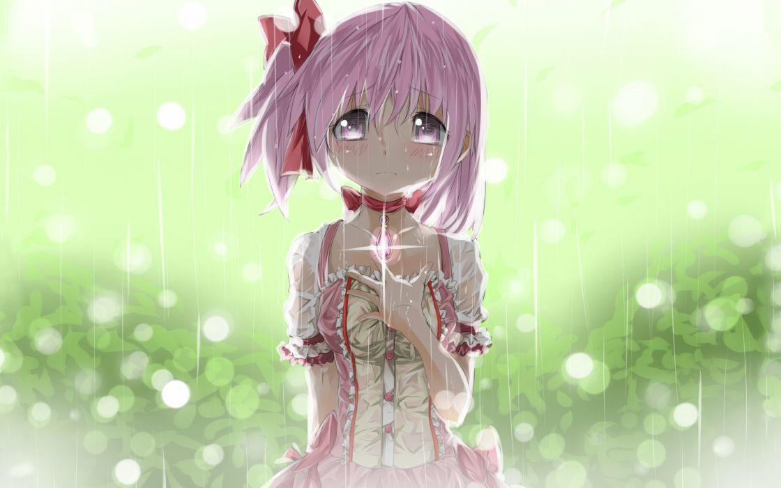 blush crying kaname madoka mahou shoujo madoka magica photoshop pink eyes pink hair rain ribbons seifuku tears rain drops mood wallpaper