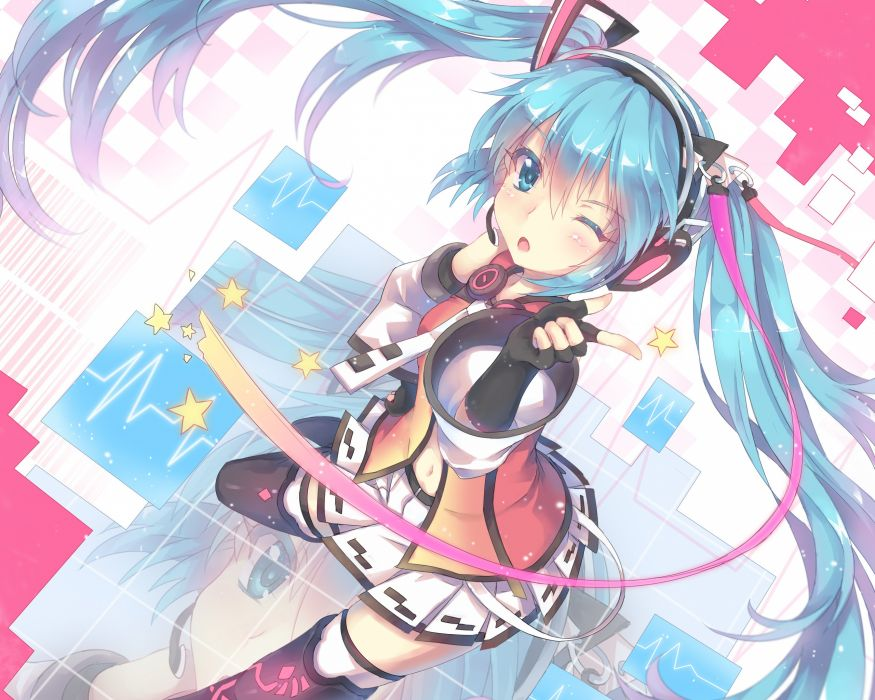 abyss of parliament aqua hair hatsune miku headphones jpeg artifacts long hair north abyssor twintails vocaloid wink wallpaper