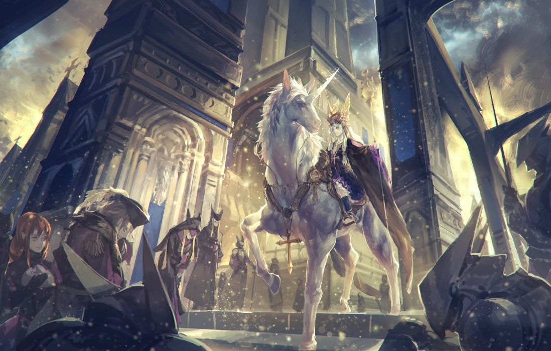 alcd animal armor cross pixiv fantasia staff unicorn wallpaper