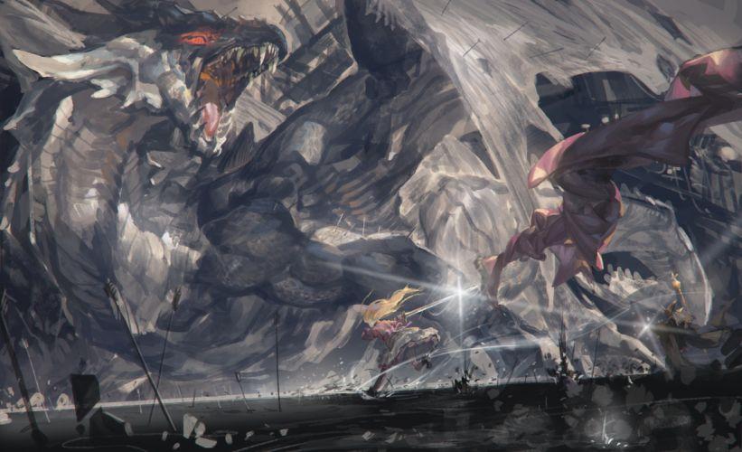 alcd blonde hair dragon dress pixiv fantasia sword weapon wallpaper