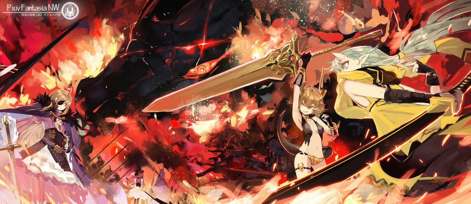 animal ears dragon fire horns pixiv fantasia red eyes saberiii sword weapon wallpaper