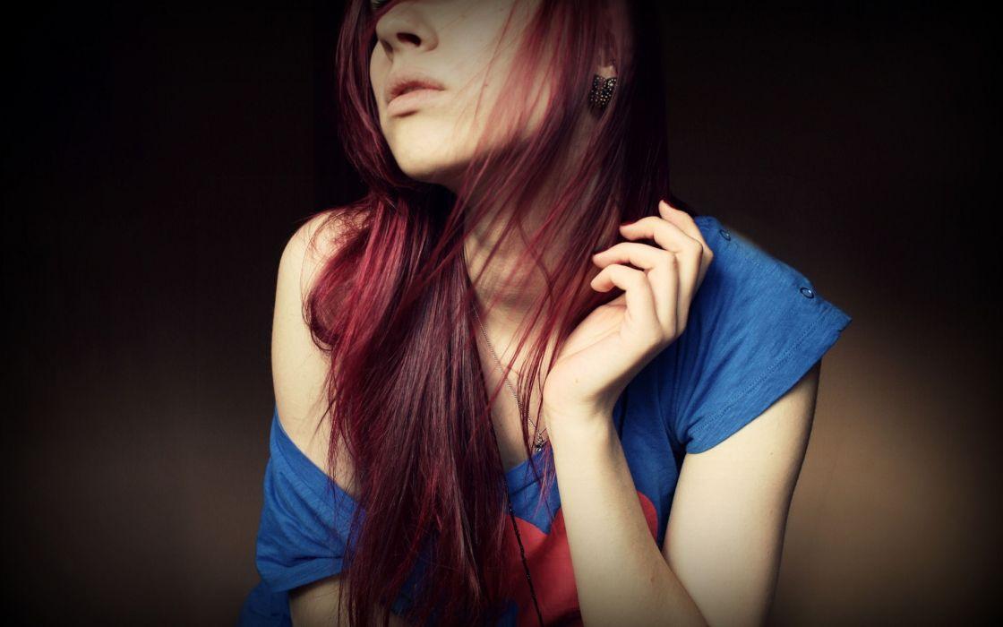 brunettes women redheads mood females girls face wallpaper
