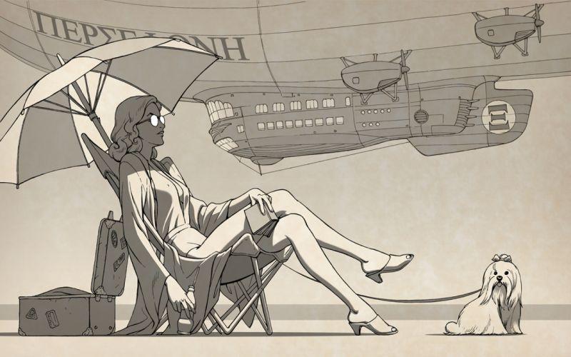 vehicles airship dieselpunk retrofuture steampunk futuristic women females girls umbrella art wallpaper