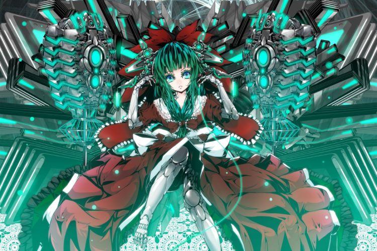 Touhou dress robots blue eyes ribbons mechanical green hair sitting Kagiyama Hina wallpaper