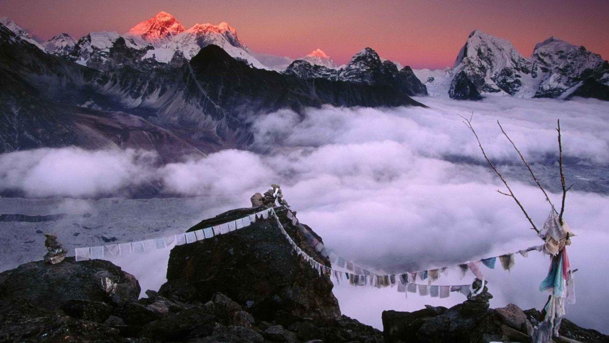 mountains Nepal Mount Everest clouds sunset sunrise wallpaper