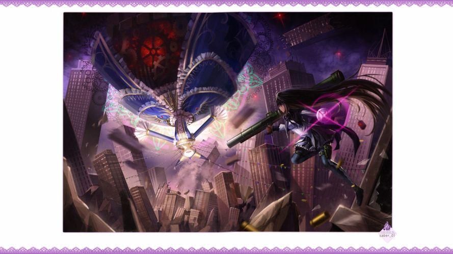 fighting weapons Mahou Shoujo Madoka Magica anime Akemi Homura doujinshi Walpurgisnacht Border wallpaper