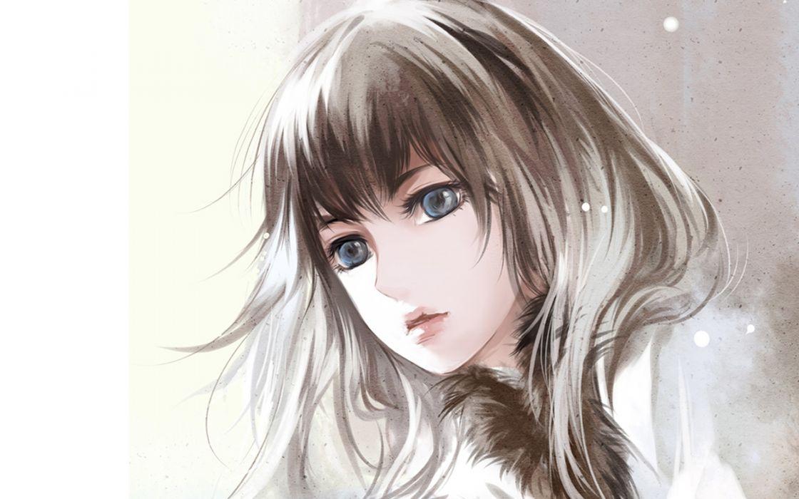 Drawing Face Anime original girl wallpaper