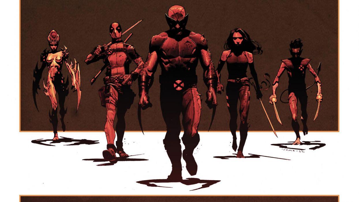 X-Men Wolverine Deadpool Wade Wilson Psylocke X-Force Nightcrawler E_V_A_ wallpaper
