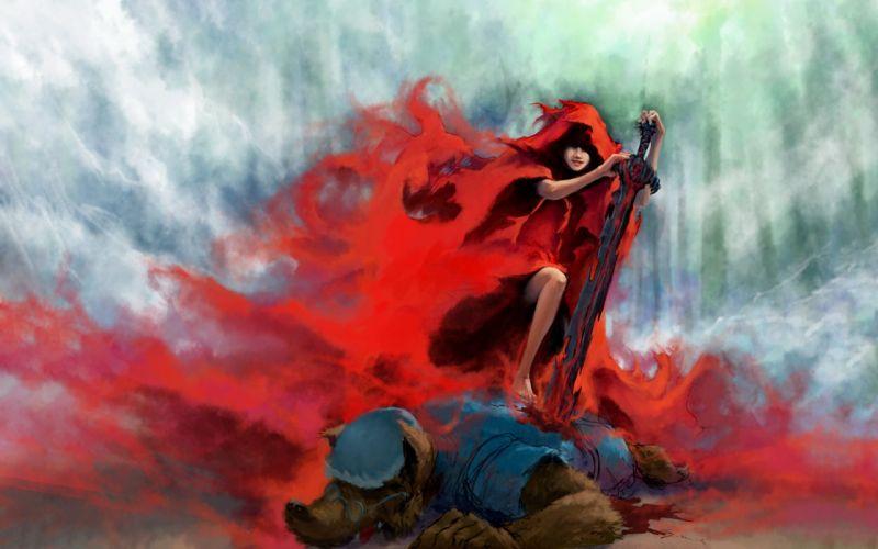 rain Little Red Riding Hood fantasy art artwork swords wolves wallpaper
