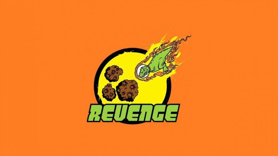 dinosaurs humor revenge meteorite orange background wallpaper