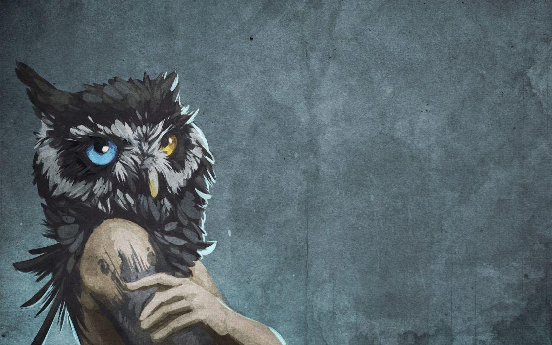 abstract blue eyes animals human textures fantasy art yellow eyes owls artwork bodies wallpaper