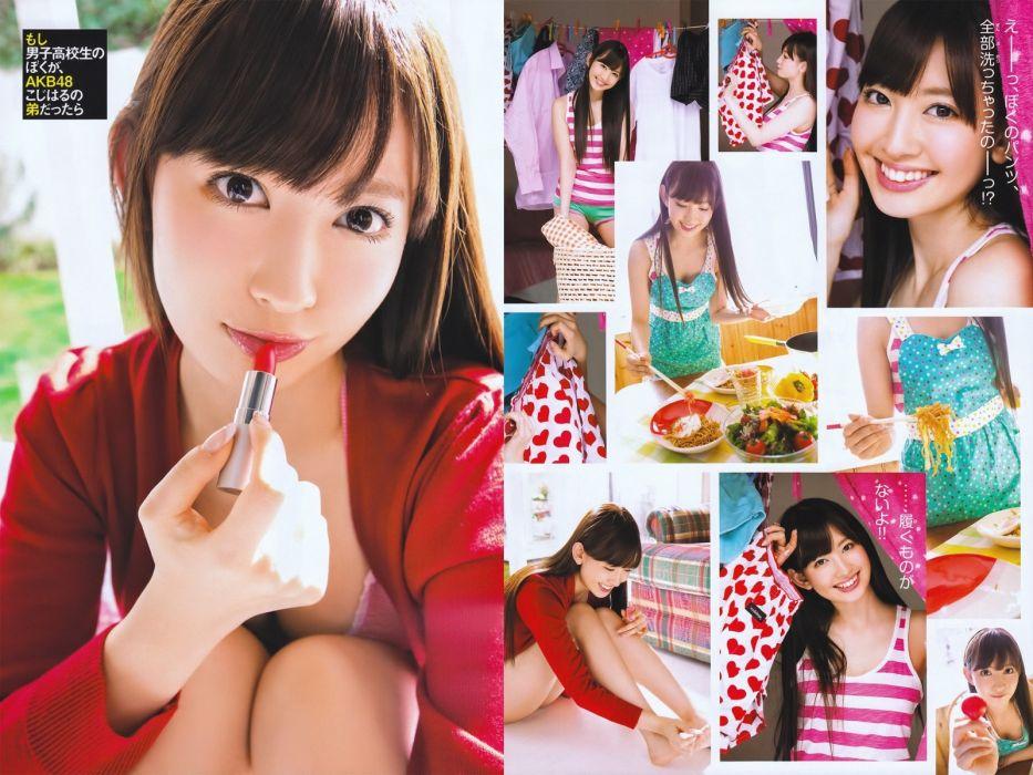 Asians Japanese Girl AKB48 oriental women females face eyes brunettes wallpaper