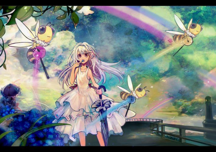 animal bird clouds dress flowers lollipop long hair original rainbow ryuuri susuki summer dress umbrella white hair wallpaper