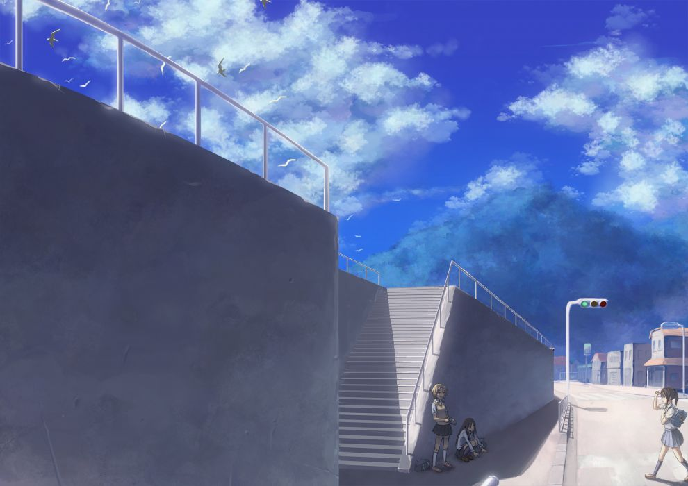 animal bird clouds mismi original seifuku sky stairs wallpaper