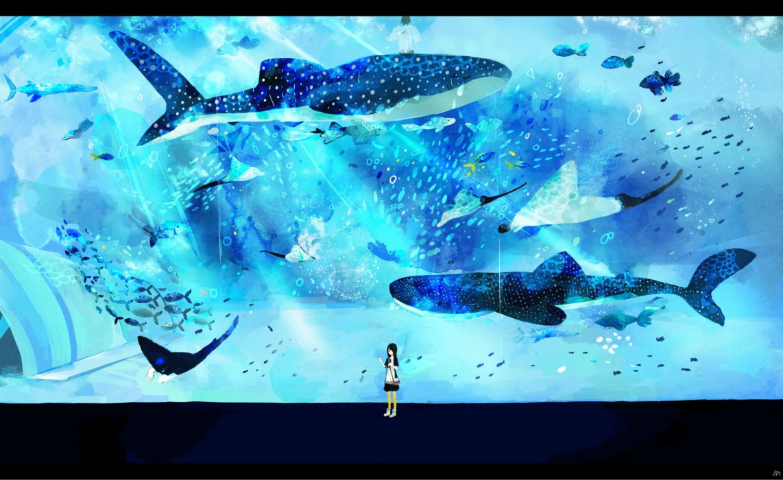 animal black eyes black hair bubbles fish miyashita miro original underwater wallpaper