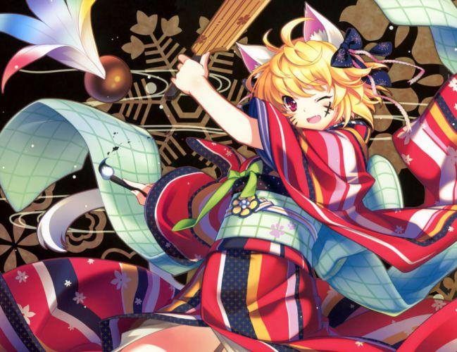 animal ears blonde hair fang japanese clothes kimono original riv short hair wink wallpaper