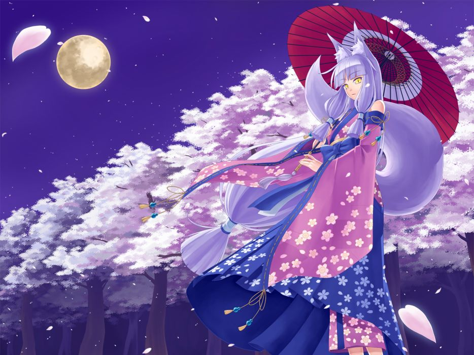 animal ears cherry blossoms foxgirl japanese clothes kimono long hair moon original seihou sky tail tree white hair yellow eyes wallpaper