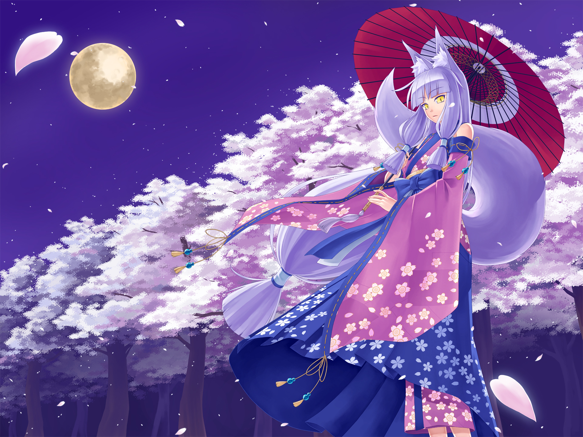 Animal Ears Cherry Blossoms Foxgirl Japanese Clothes