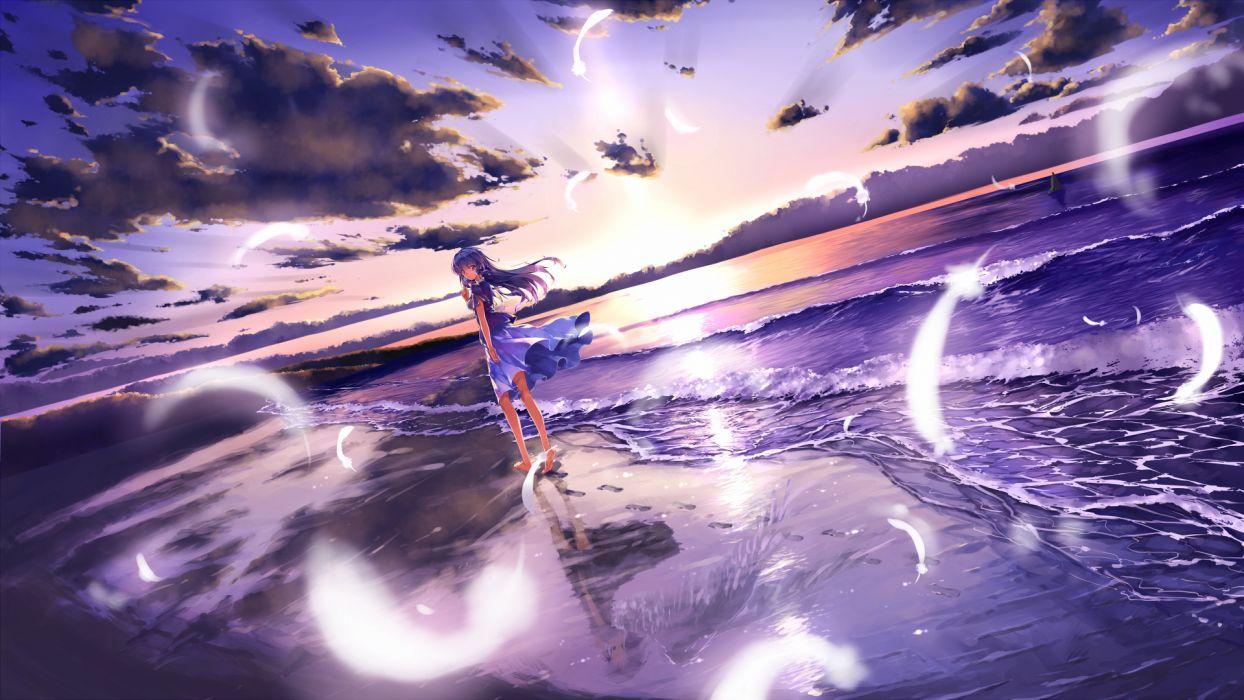barefoot beach clouds feathers long hair original purple eyes purple hair scenic skirt sky toshi water wings wallpaper