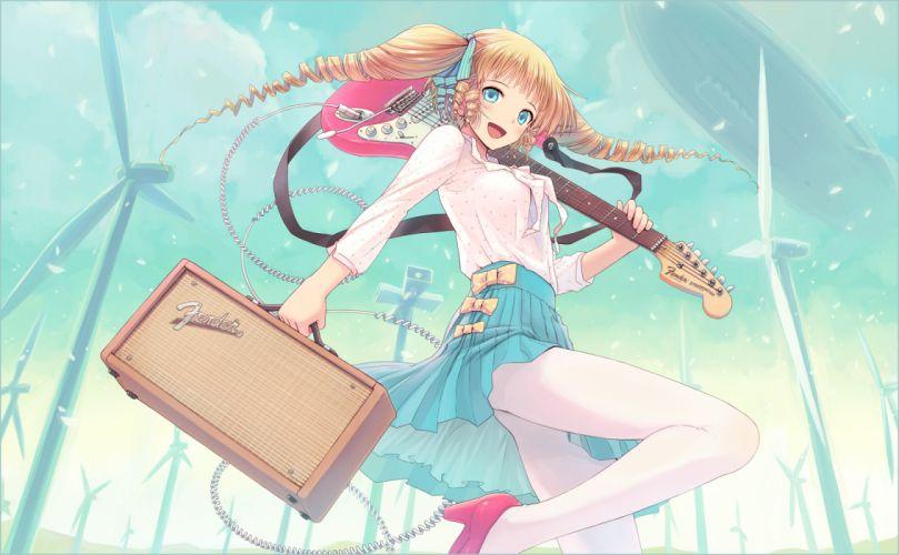blonde hair blue eyes guitar instrument kurobuta gekkan original pantyhose skirt twintails wallpaper