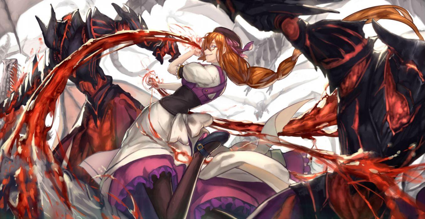 blood dress glasses long hair pixiv fantasia ryuuzaki itsu wallpaper