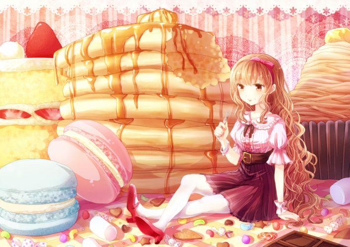 brown eyes brown hair cake candy dress food kohaku_ long hair original strawberry wallpaper