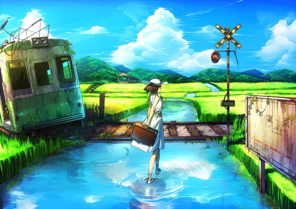 brown hair clouds dress grass hat original rby ruins scenic sky train water wallpaper