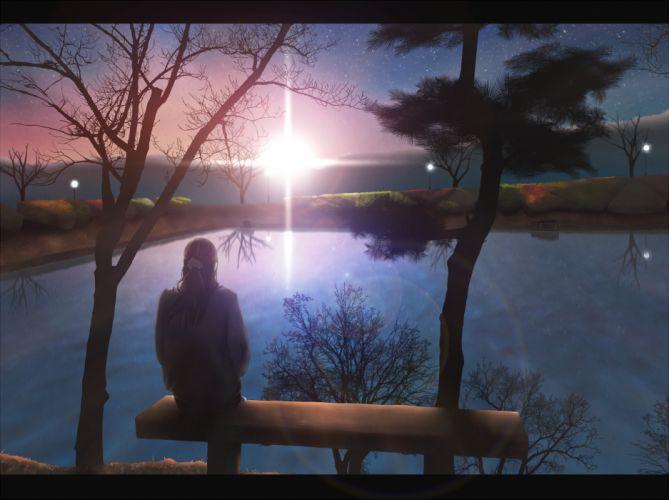 brown hair hono mochizuki landscape original scenic sky stars sunset tree water wallpaper