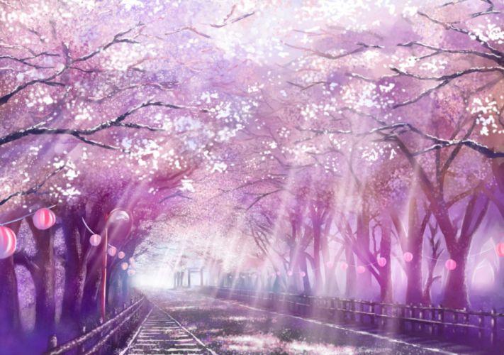 cherry blossoms monorisu original petals scenic tree wallpaper