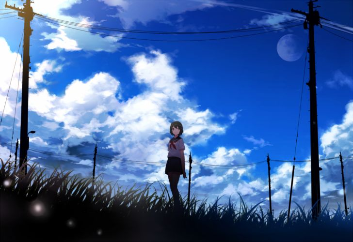 clouds grass mogumo moon original seifuku sky wallpaper