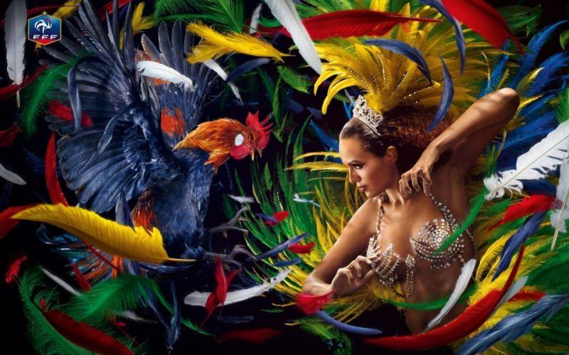 artwork art birds parrot women females girls cleavage feathers color wallpaper