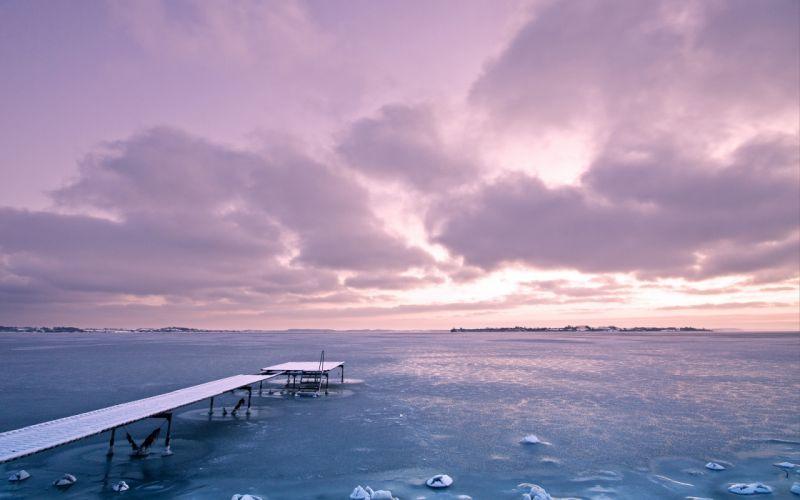 sea ocean sunrise sunset sky clouds ice wallpaper