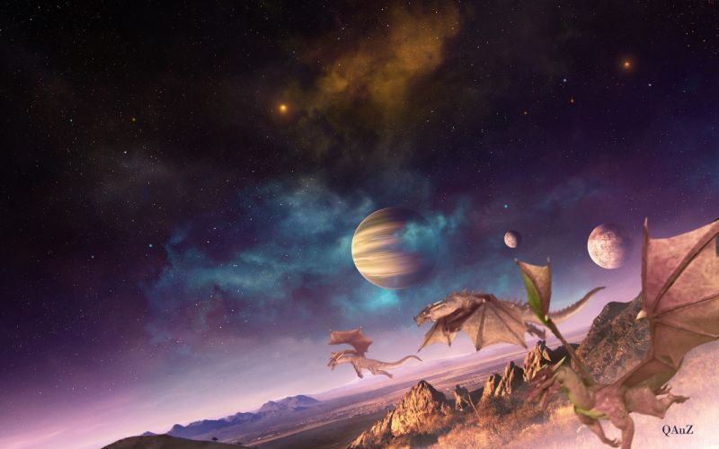 outer space fantasy art digital art creatures dragons fantasy planets landscapes wallpaper