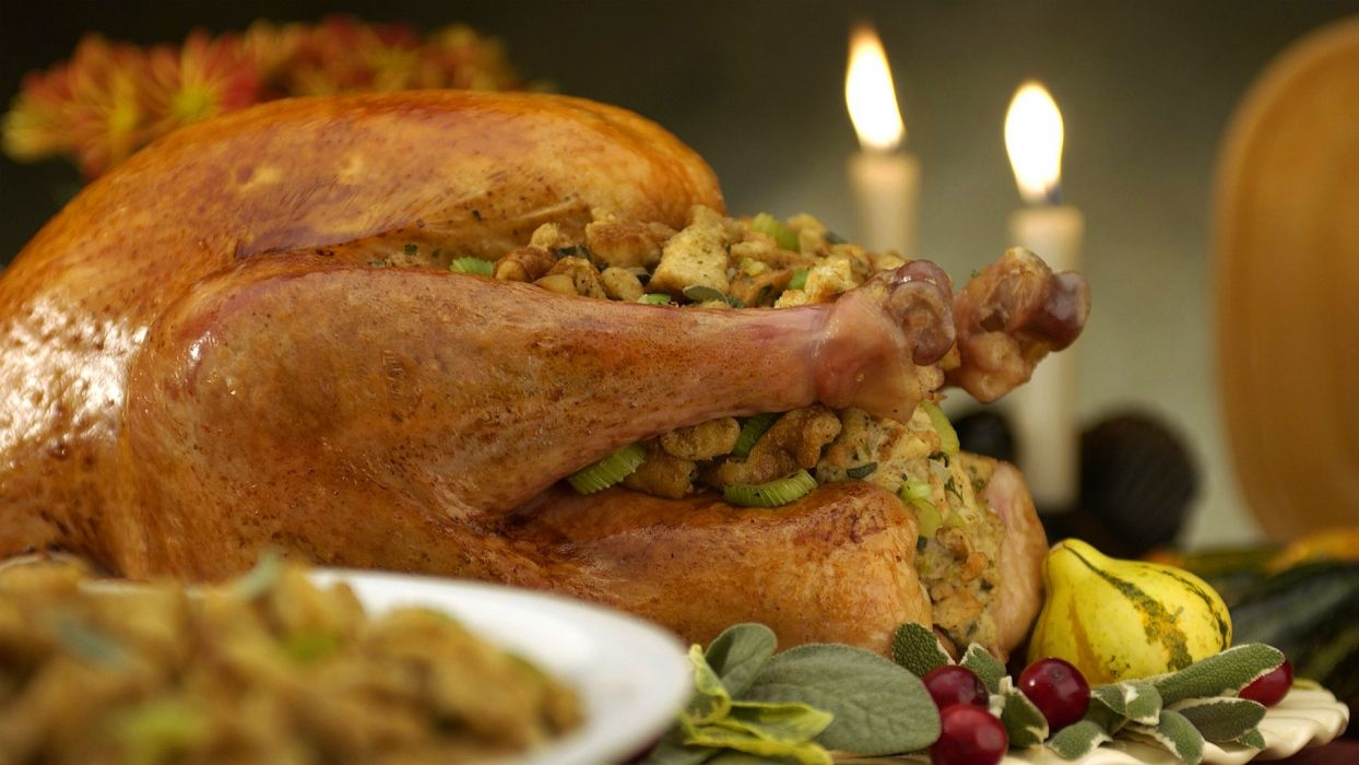 food Turkey meat thanksgiving candles fire wallpaper