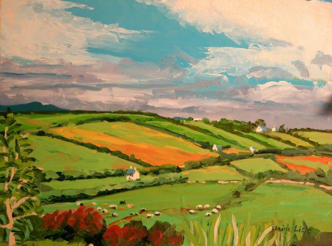 paintings clouds landscapes fields hills villages wallpaper
