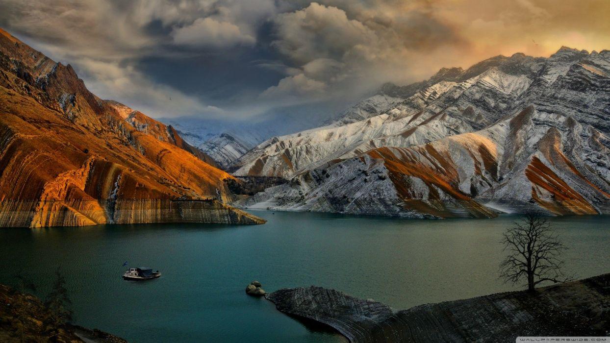 abstract mountains ocean clouds rocks dam artwork wallpaper