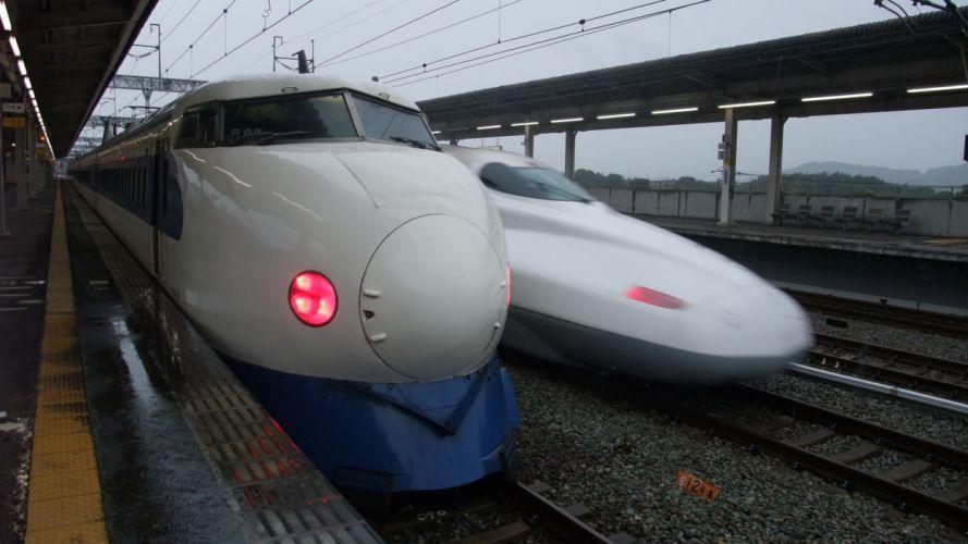 trains railroad tracks vehicles Shinkansen wallpaper