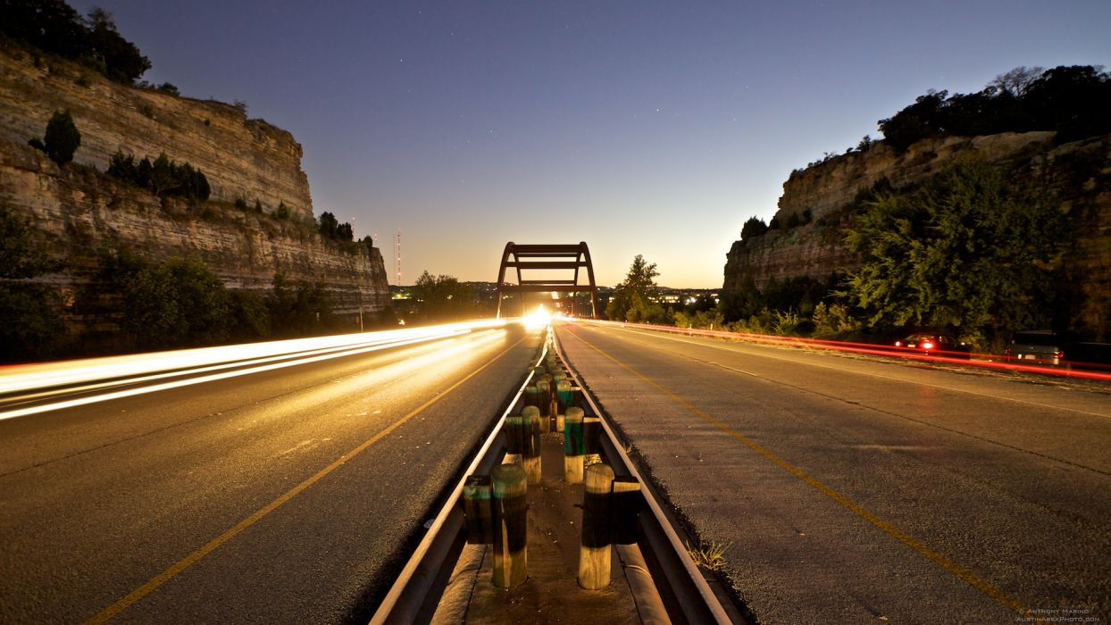 cars bridges roads long exposure wallpaper