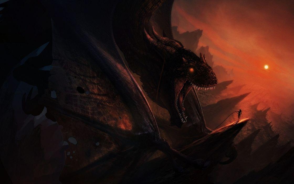 dark dragons fantasy art creatures wallpaper