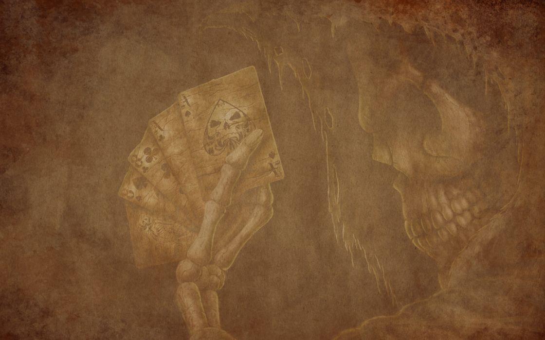 cards skulls wallpaper