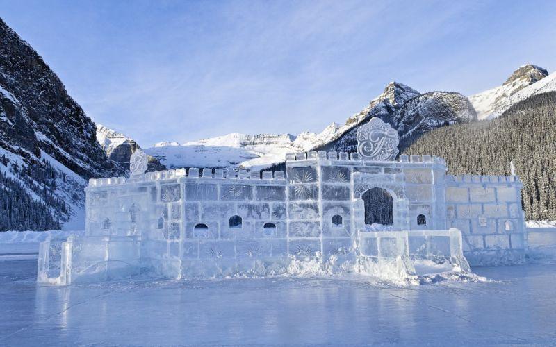 ice landscapes white ice castle wallpaper