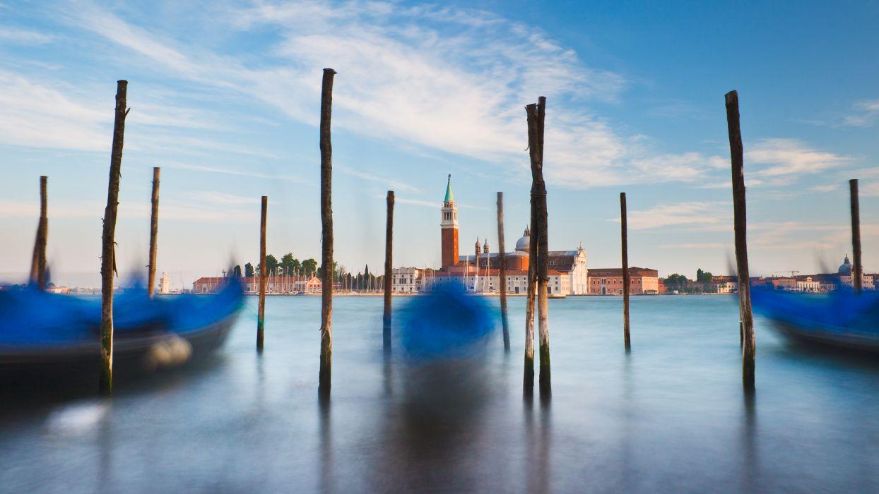 ships Venice long exposure gondolas wallpaper