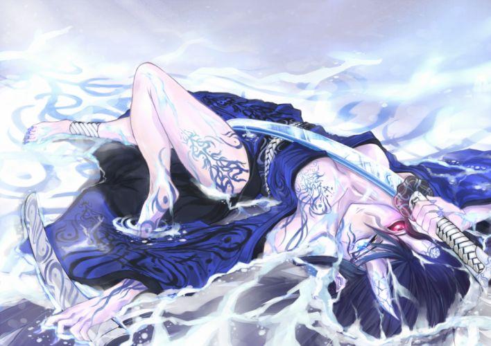 angelegna barefoot bicolored eyes breasts katana original sword weapon wallpaper