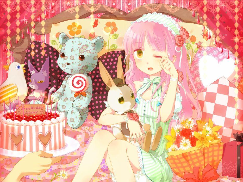 animal bed bird candy flowers lollipop okitune-sama original pink hair rabbit teddy bear birthday wallpaper