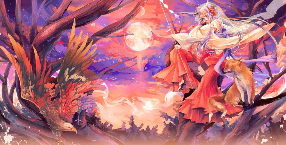 animal bird fox horns japanese clothes kirero long hair miko moon original purple hair red eyes wallpaper