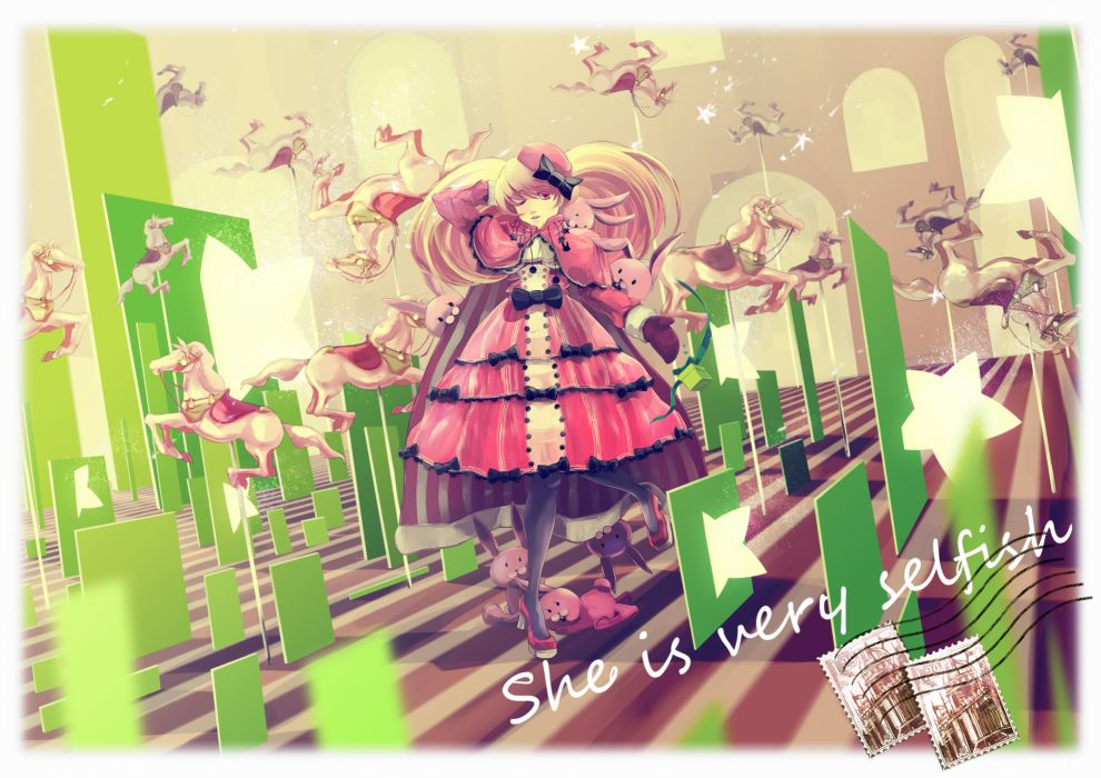 animal bow bunny dress mashiro akira original stockings wallpaper