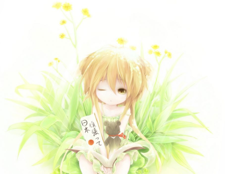 animal ears blonde hair book brown eyes dress flowers grass kukki (manahui) long hair original yellow eyes wallpaper