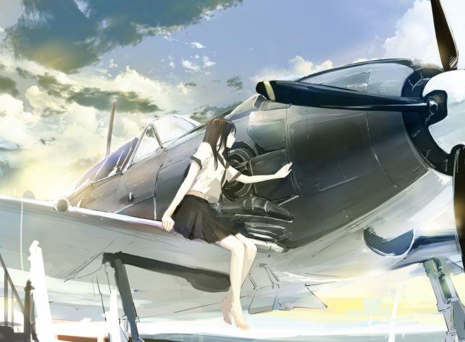 aircraft barefoot clouds original seifuku takeshima satoshi wallpaper
