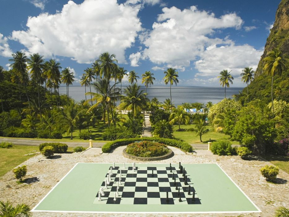 plantation Lucia chess board wallpaper