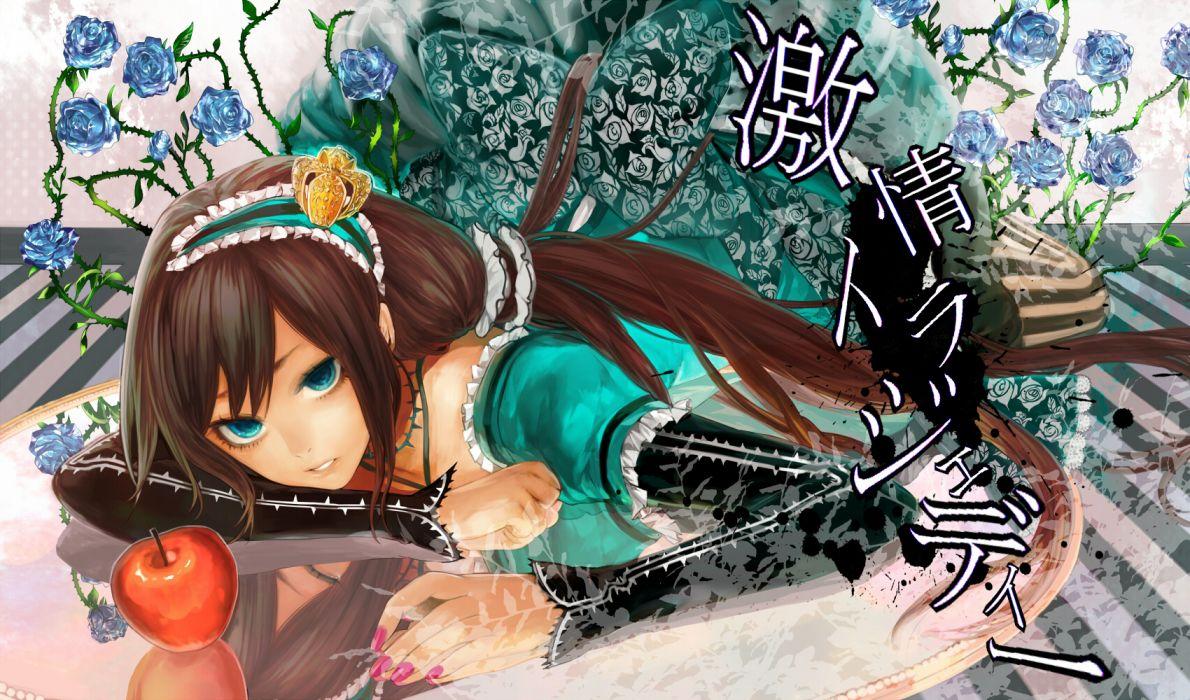 apple brown hair dress flowers fruit hatsune miku headdress long hair original ponytail rose tcb vocaloid wallpaper